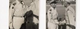 Majoor Infanterie KNIL C.L.E.F. van Swieten ontvangt de Bronzen Leeuw van kolonel D.R.A. van Langen